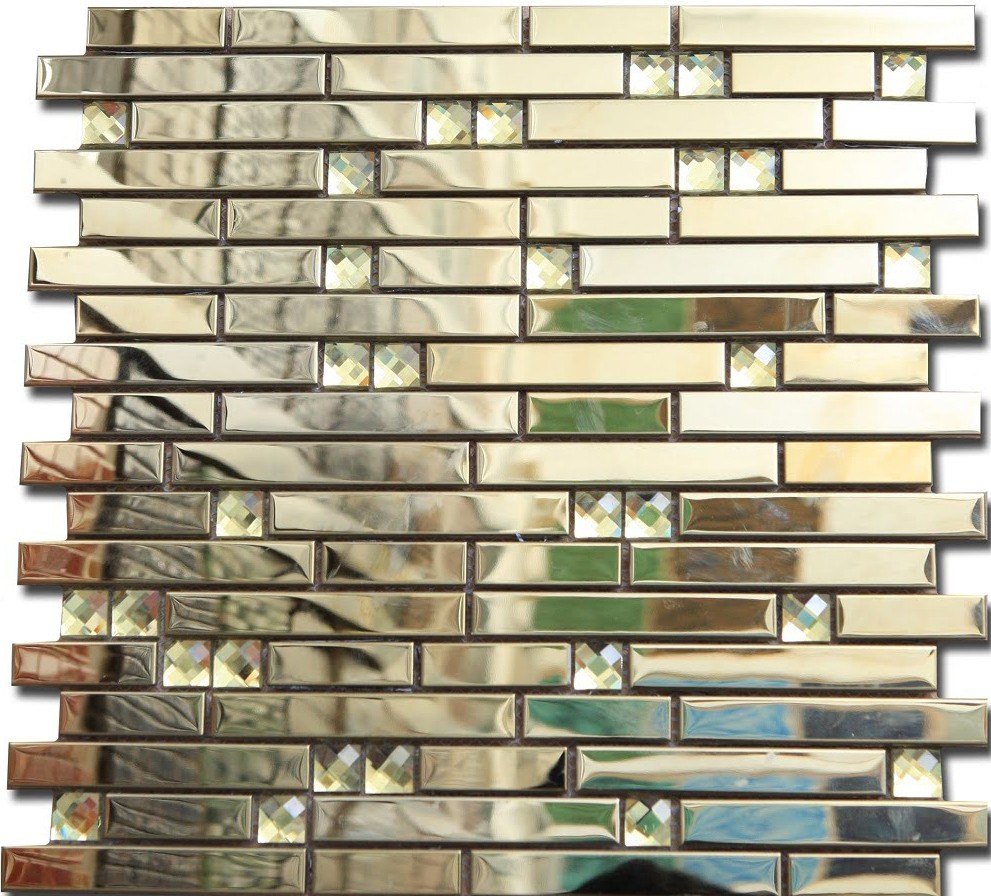 mosaik fliesen metall diamant spiegel gl nzend effekt mosaik fliese gold 30x30cm ebay. Black Bedroom Furniture Sets. Home Design Ideas
